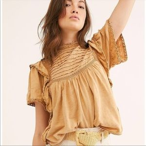 NWT Free People Le Femme Sandstone Blouse
